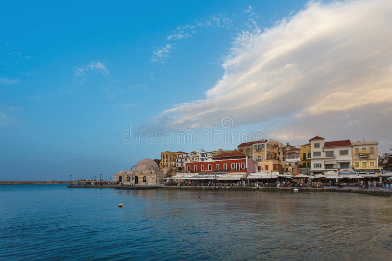 Cidade velha de Chania, Grécia foto de stock