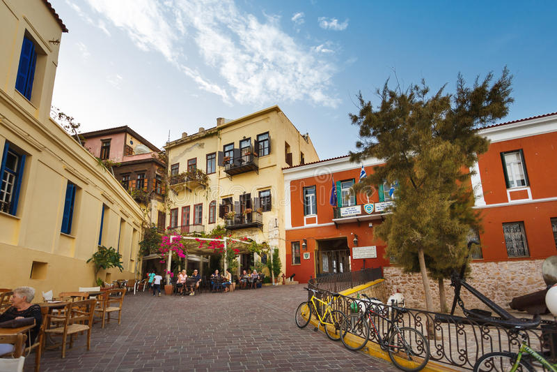 Cidade velha de Chania, Grécia fotografia de stock