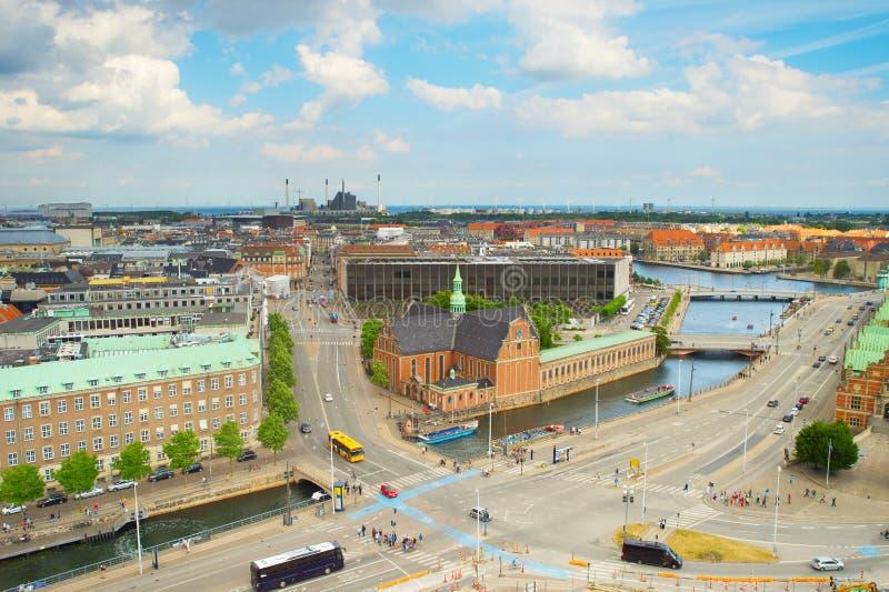 Cidade velha de Copenhaga da skyline dinamarca fotos de stock