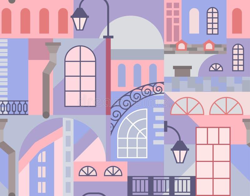 Cidade velha de Europa Mosaico colorido da arte Teste padrão sem emenda ilustração do vetor