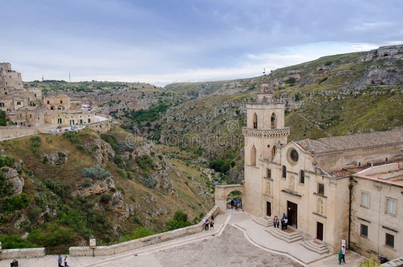 Cidade velha de Matera em Itália do sul foto de stock