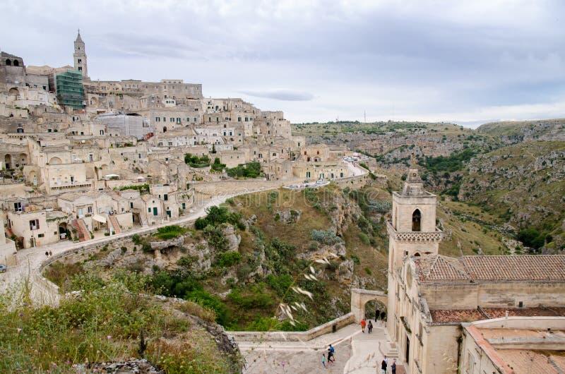 Cidade velha de Matera em Itália do sul fotos de stock