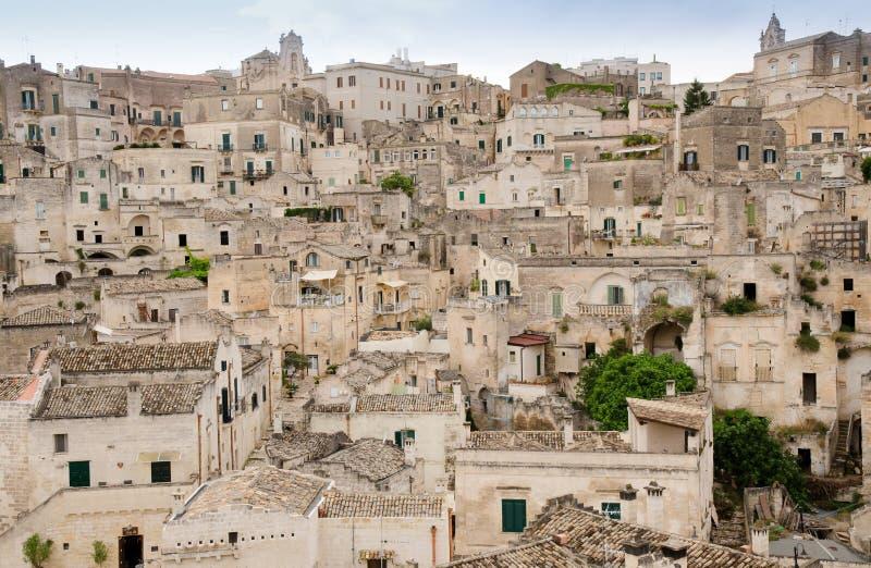 Cidade velha de Matera em Itália do sul fotografia de stock