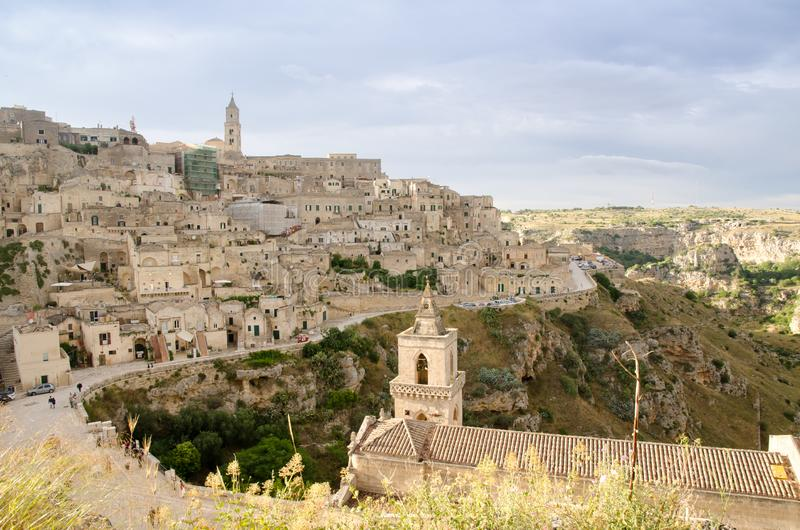 Cidade velha de Matera em Itália do sul imagens de stock