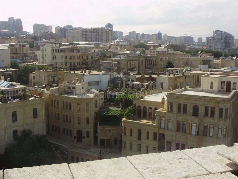 Cidade velha de O grande e bonita de Baku fotografia de stock royalty free