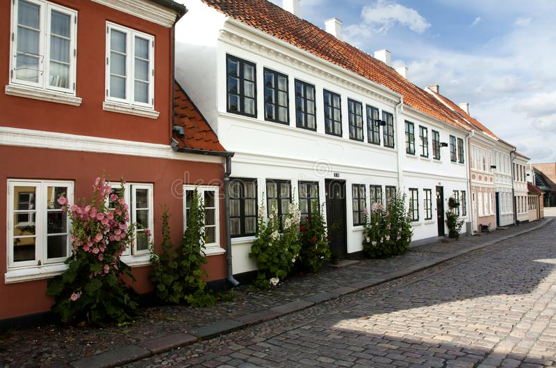 Cidade velha de Odense, Dinamarca fotografia de stock royalty free