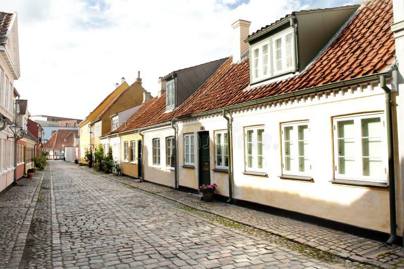 Cidade velha de Odense, Dinamarca imagens de stock