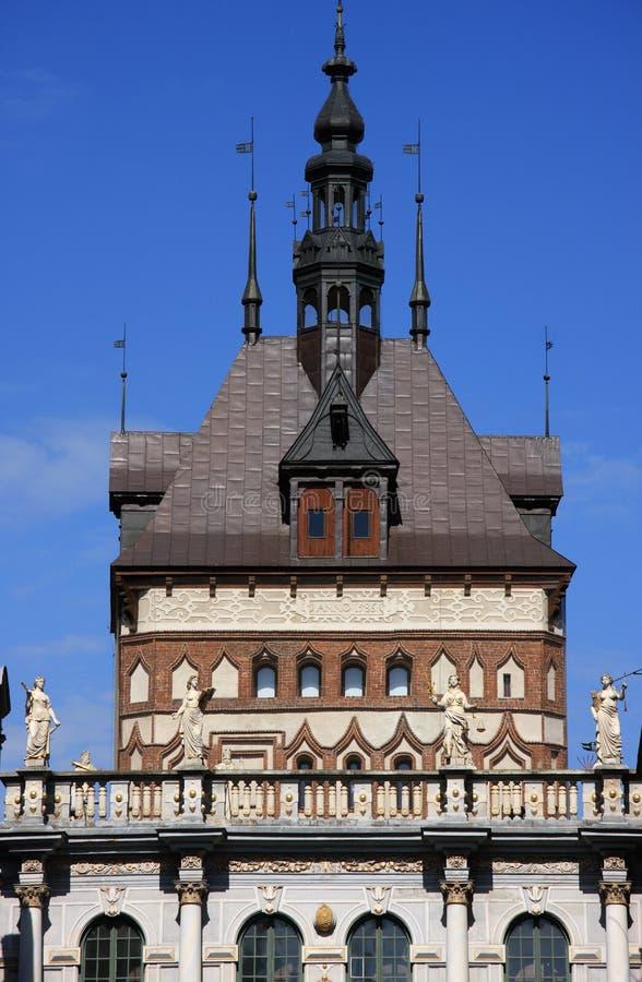 Cidade velha de Poland Gdansk - detalhe do mercado longo imagens de stock royalty free