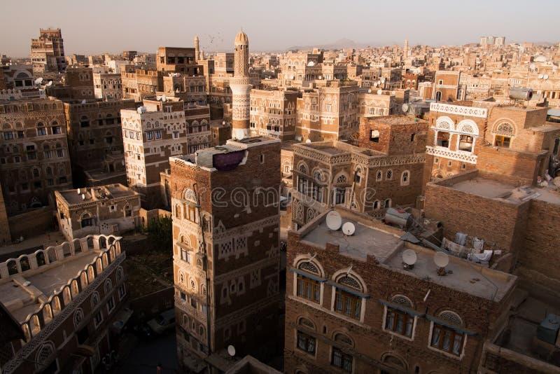 Cidade velha de Sana em Yemen fotos de stock royalty free