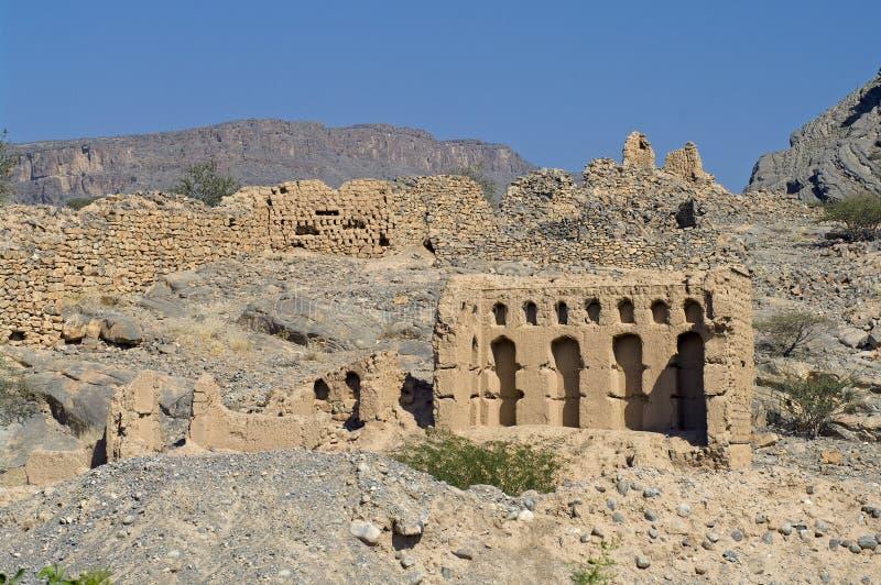 Cidade velha de Tanuf, Oman fotos de stock royalty free