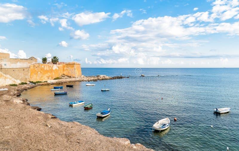 Cidade velha de Trapani em Sicília, Itália fotografia de stock
