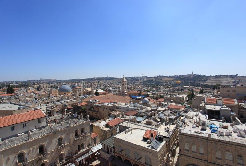 Cidade velha do panorama do Jerusalém - do nordeste fotos de stock royalty free