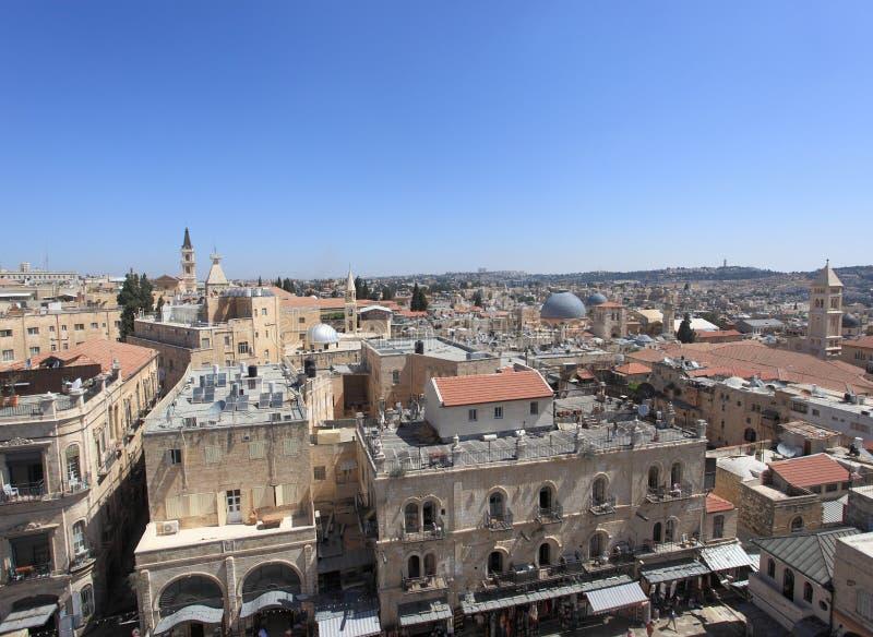 Cidade velha do panorama do Jerusalém - norte fotografia de stock