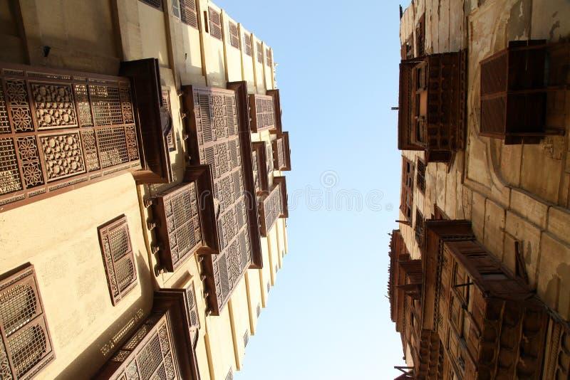 Cidade velha em Jeddah, Arábia Saudita conhecida como o ` histórico de Jeddah do ` Construções e estradas velhas e da herança em  imagem de stock