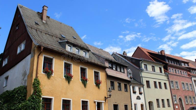 Cidade velha histórica de Freiberg e do estilo local da construção fotos de stock