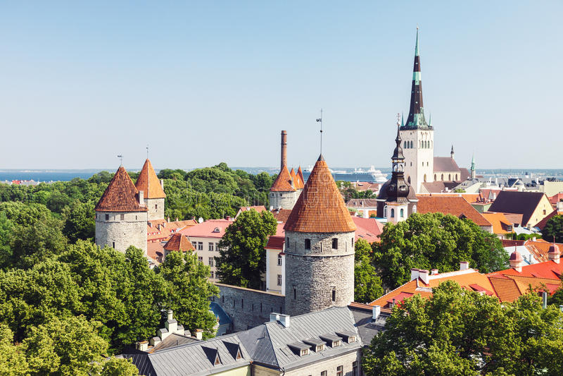 Cidade velha histórica de Tallinn fotos de stock