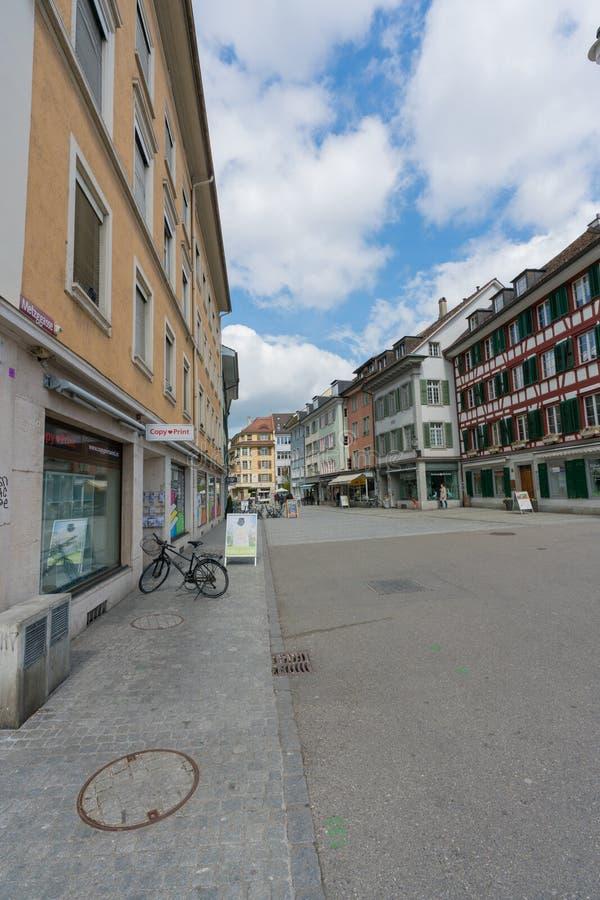 Cidade velha histórica de Winterthur em Suíça com as casas metade-suportadas quadro tradicionais imagem de stock royalty free