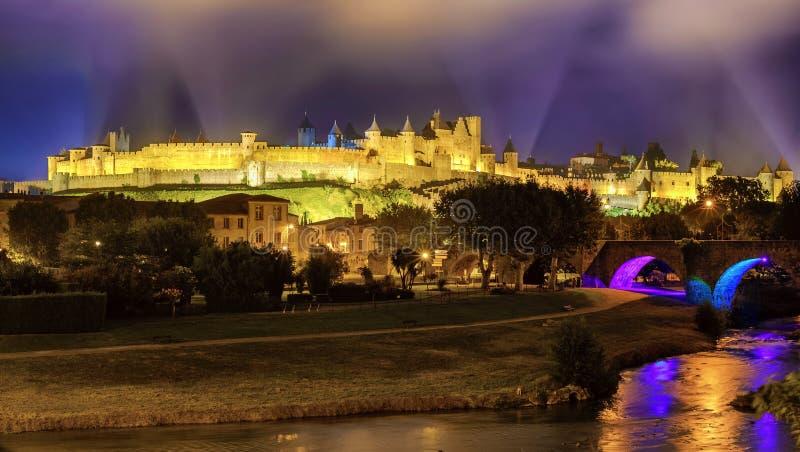 Cidade velha medieval de Carcassonne, Languedoc, França foto de stock
