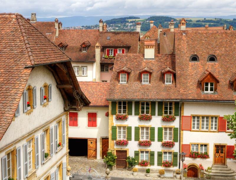 Cidade velha Murten, Switzerland fotografia de stock royalty free