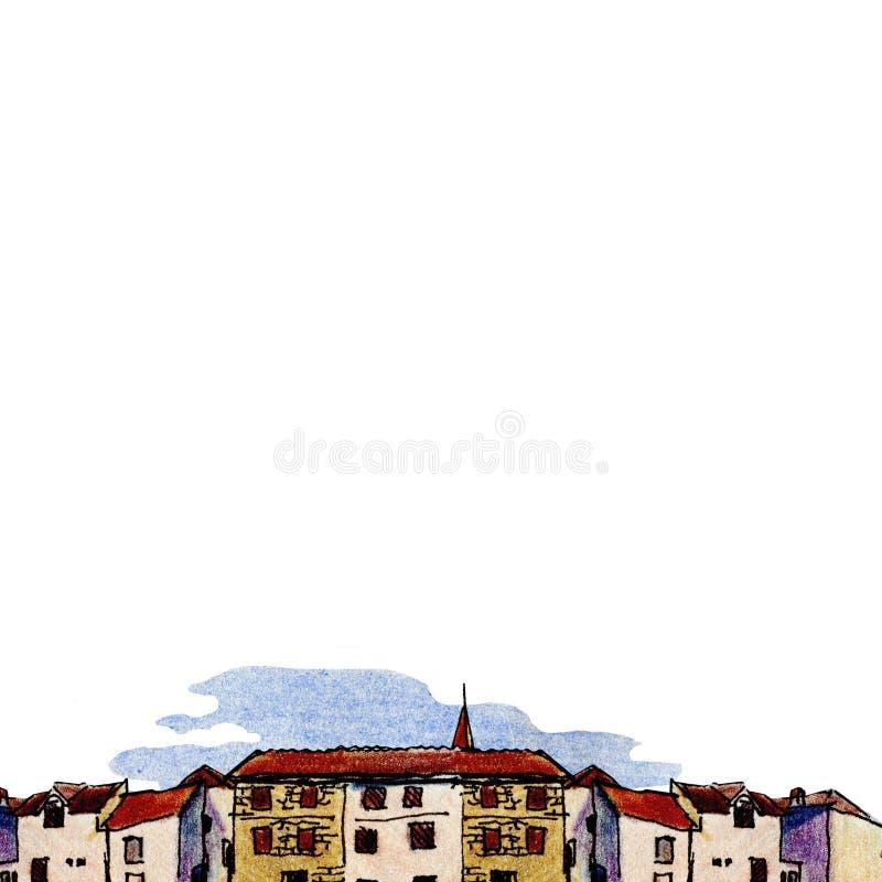 Cidade velha no estilo do esboço e isolada no fundo branco, lápis colorido ilustração stock