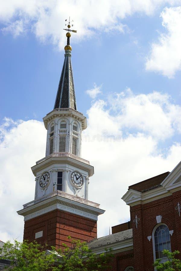 Cidade velha torre de Alexandria, Virginia City Salão imagem de stock royalty free