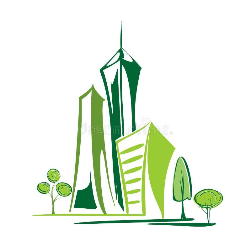 Cidade verde - ambiente e ecologia ilustração royalty free