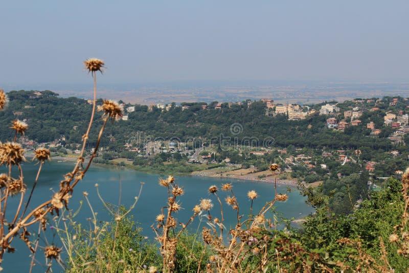 Cidade verde com oceano azul fotos de stock