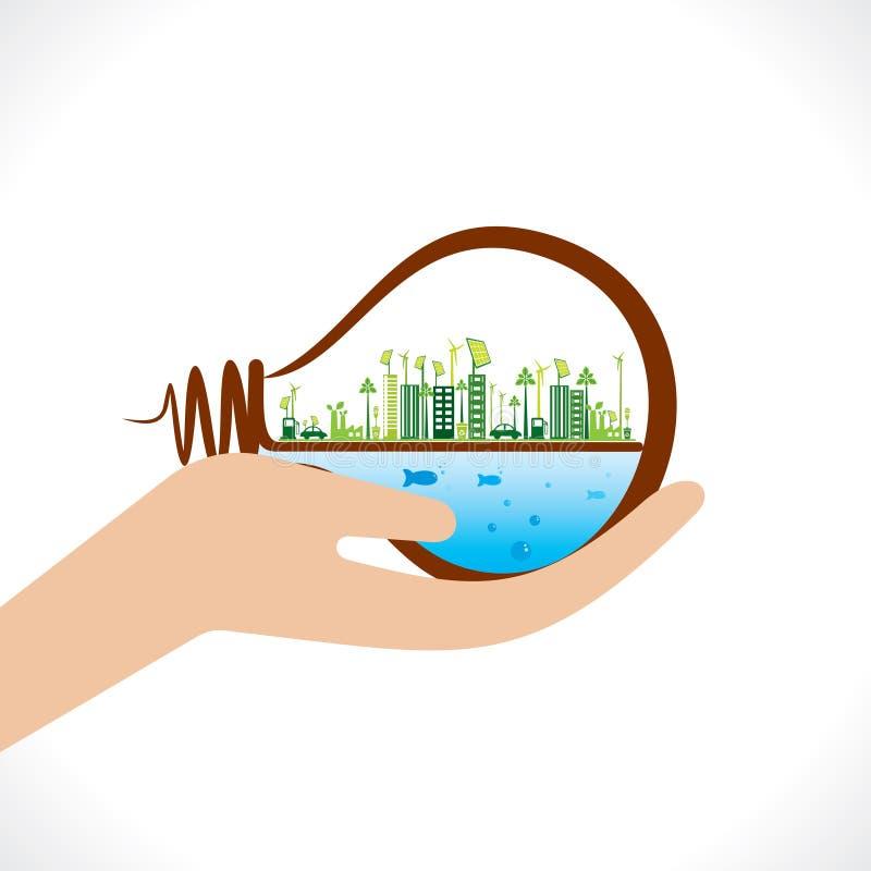 Cidade verde criativa ou cidade do eco no conceito do bulbo ilustração do vetor