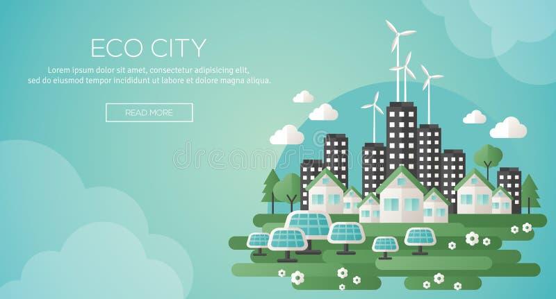 Cidade verde do eco e bandeira sustentável da arquitetura ilustração royalty free