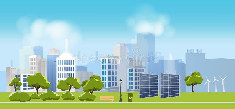 A cidade verde e a vida do eco, relaxam o jardim, paisagem urbana ilustração stock
