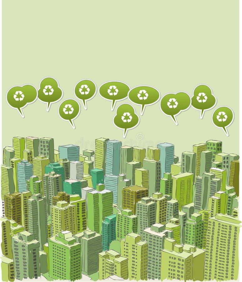 Cidade verde grande ilustração do vetor