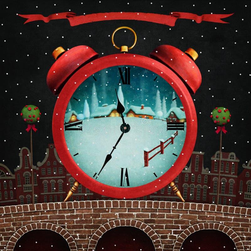 Cidade vermelha do inverno ilustração do vetor