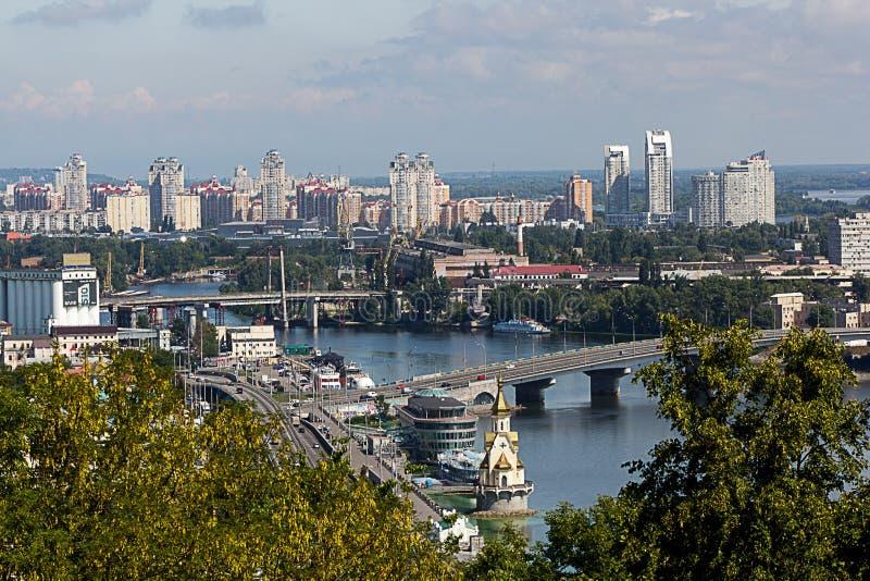 cidade, vista, Kiev, velho, panorama, curso, europeu, paisagem, arquitetura, construção, casa, turismo, urbano, Europa, rua, towe fotos de stock