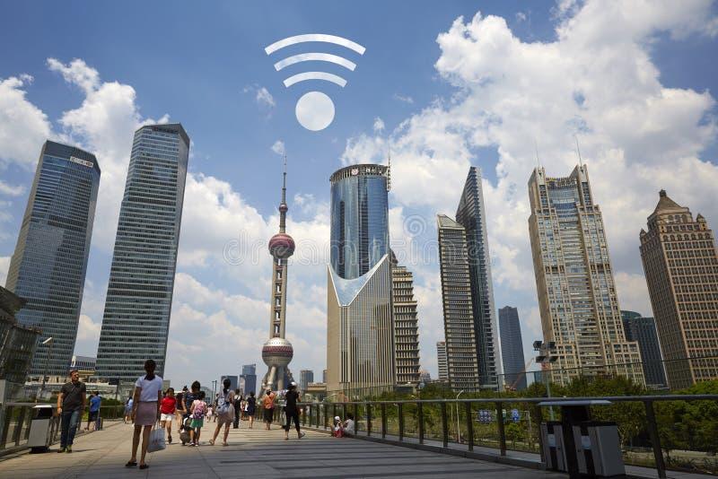 Cidade WIFI livre, Shanghai fotografia de stock royalty free