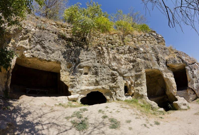 Cidades antigas da caverna de Crimea.Chufut-Kale imagens de stock
