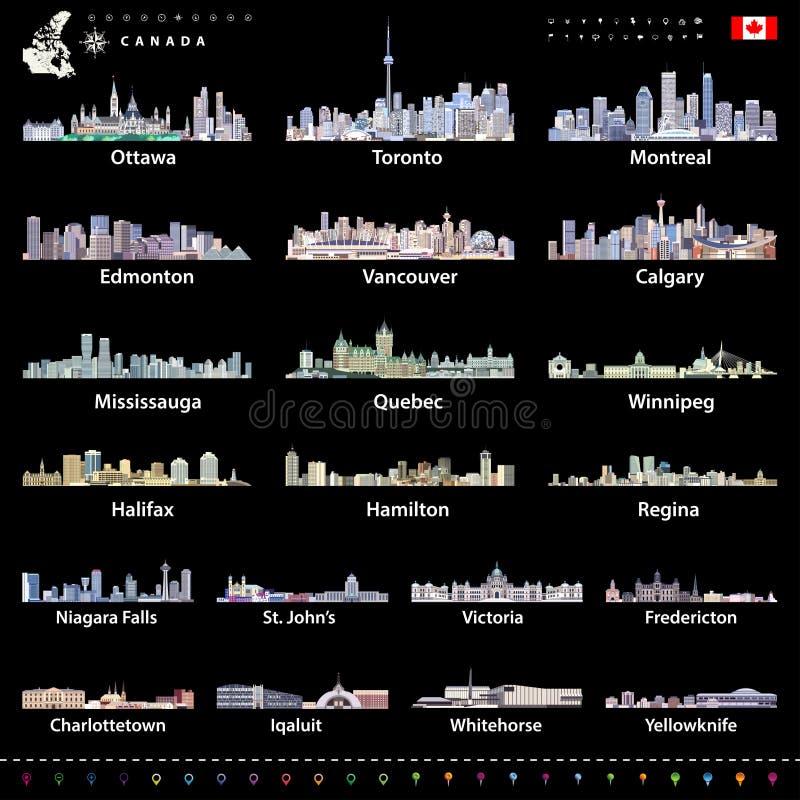 Cidades as maiores canadenses e todas as skylines dos capitais de estados em paletas de cores brilhantes com mapa e bandeira de C ilustração royalty free