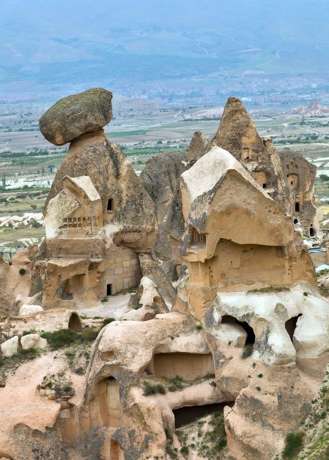 Cidades da caverna Cappadocia, Turquia imagens de stock royalty free