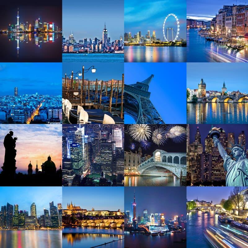 Cidades da palavra na noite, na colagem da foto, no curso e no conceito do turismo imagens de stock