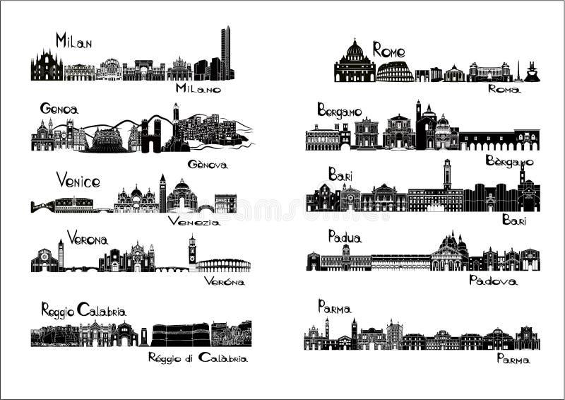 10 cidades de Itália - signts da silhueta ilustração royalty free
