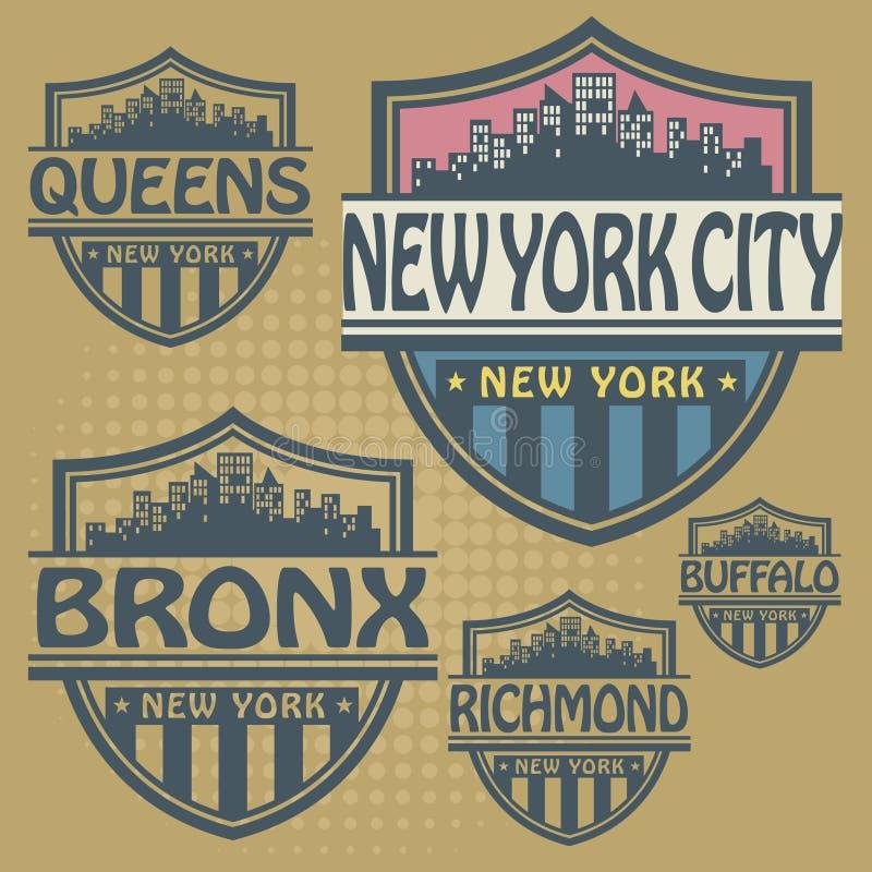 Cidades de New York do grupo de etiqueta ilustração royalty free