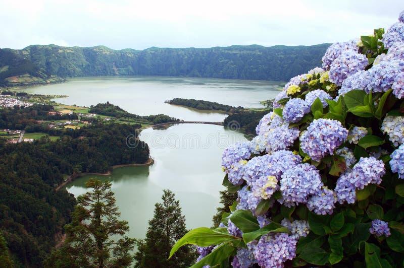 Cidades de sete de Lagoa DAS. Sao Miguel images stock