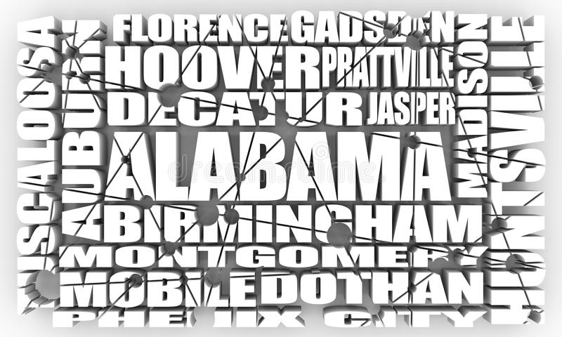 Cidades do estado de Alabama ilustração stock