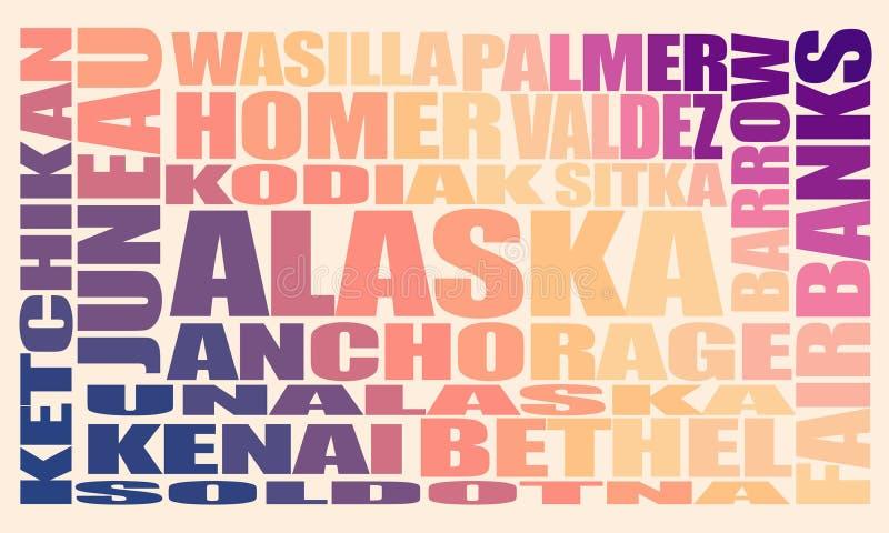 Cidades do estado de Alaska ilustração do vetor