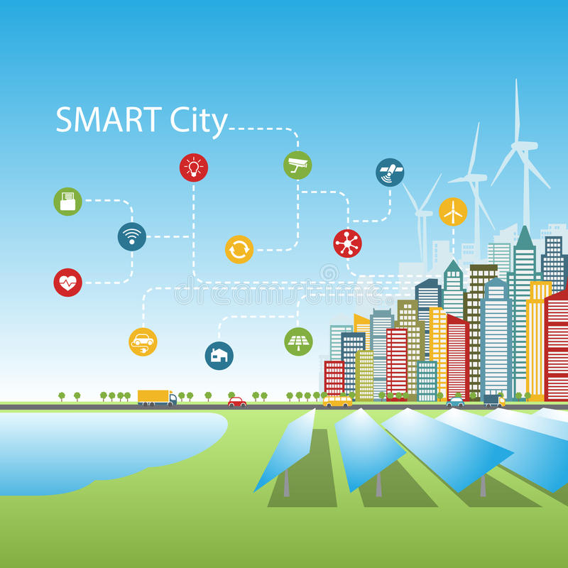 Cidades espertas com serviços inteligentes avançados, realidade aumentada, redes sociais, Internet das coisas, energia alternativ ilustração stock