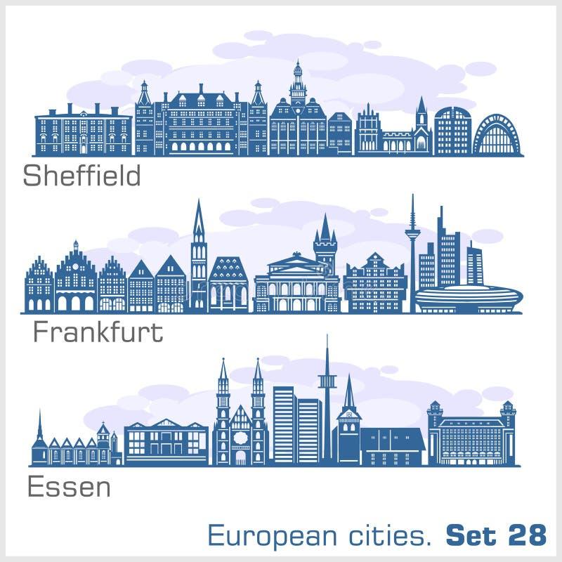 Cidades europeias - Essen, Sheffield, Frankfurt Arquitetura detalhada imagem de stock royalty free