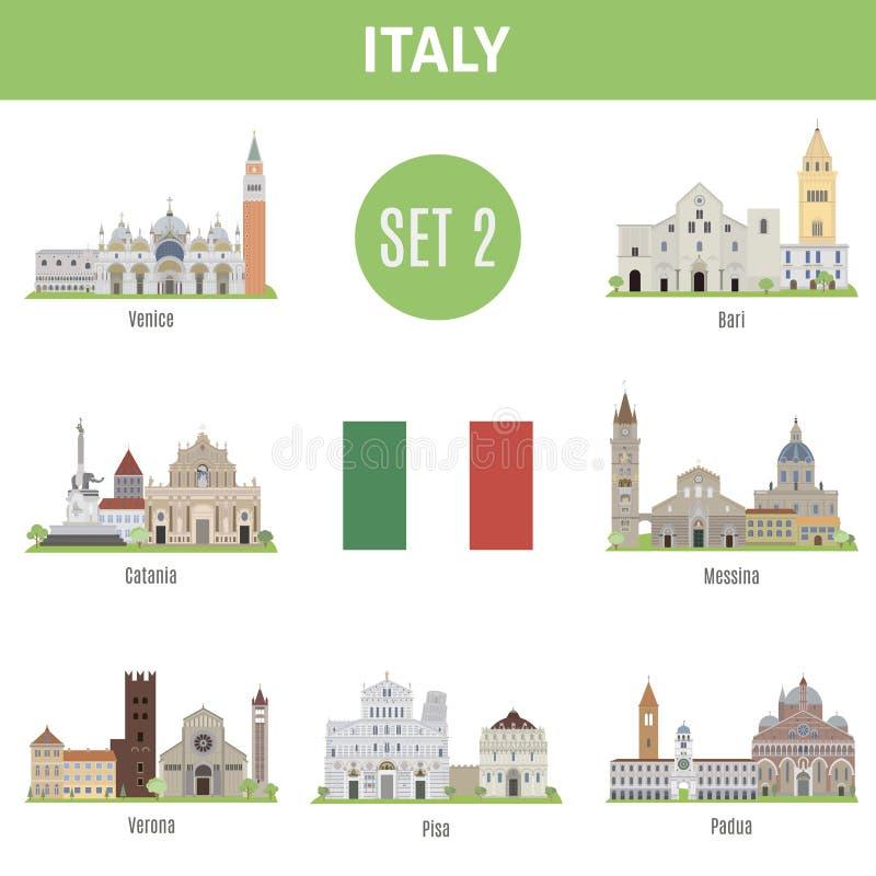 Cidades famosas de Itália dos lugares Jogo 2 ilustração royalty free