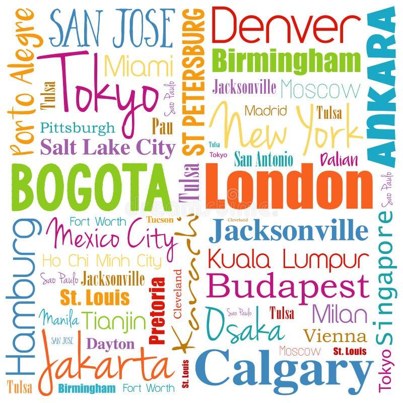Cidades na colagem da nuvem da palavra do mundo ilustração do vetor