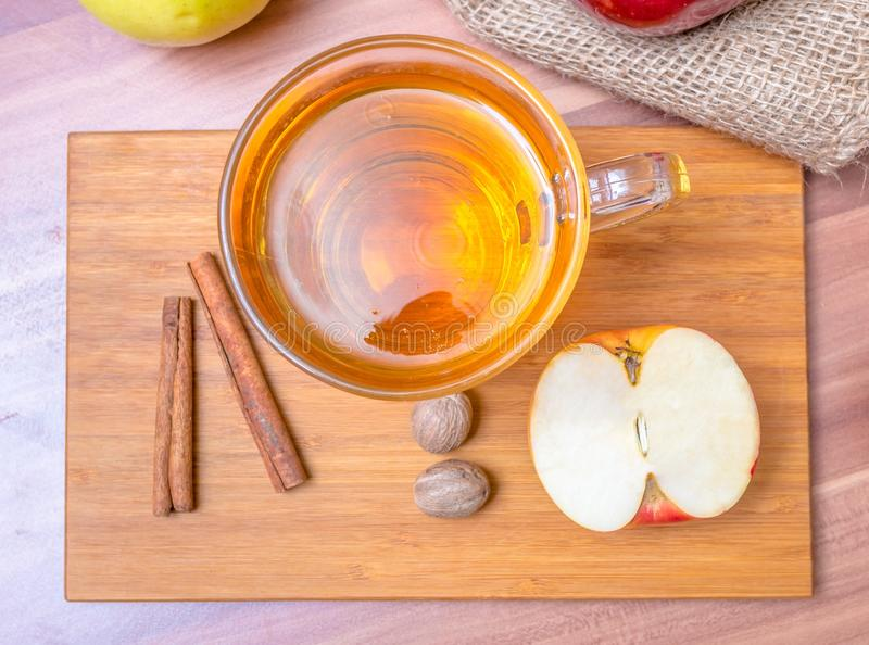 Cider - alcohol hot apploe beverage. Top view.  stock image