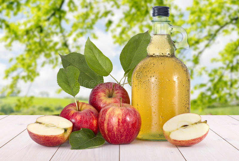 Cider and red apples stock image