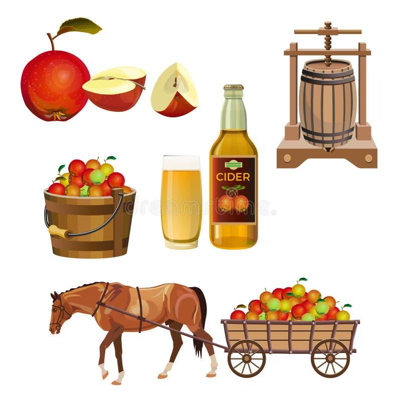 Cider vastgestelde vector stock illustratie